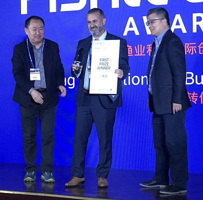 BioFishency accepts 1st place at FishTech in Qingdao, China.